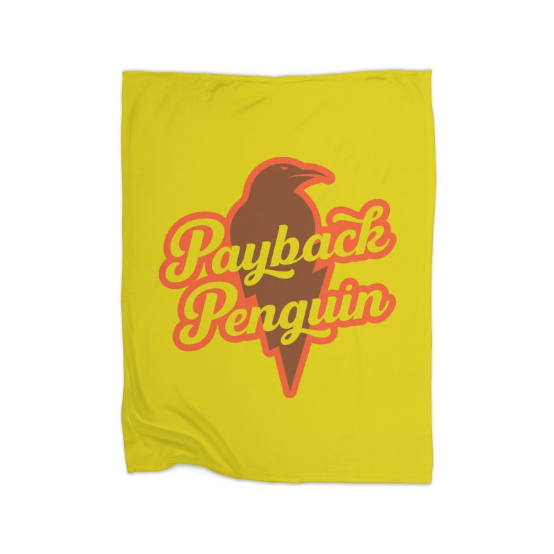 Bolt Penguin - Yellow Home Fleece Blanket Blanket by Payback Penguin