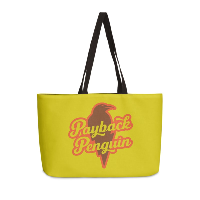 Bolt Penguin - Yellow Accessories Weekender Bag Bag by Payback Penguin