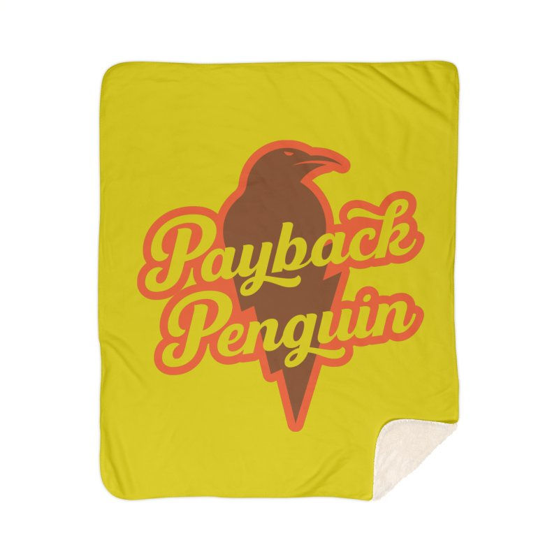 Bolt Penguin - Yellow Home Sherpa Blanket Blanket by Payback Penguin