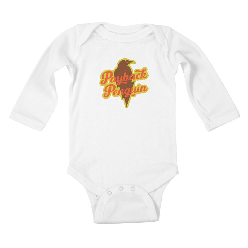 Bolt Penguin - Cream Kids Baby Longsleeve Bodysuit by Payback Penguin