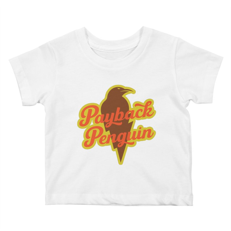 Bolt Penguin - Cream Kids Baby T-Shirt by Payback Penguin