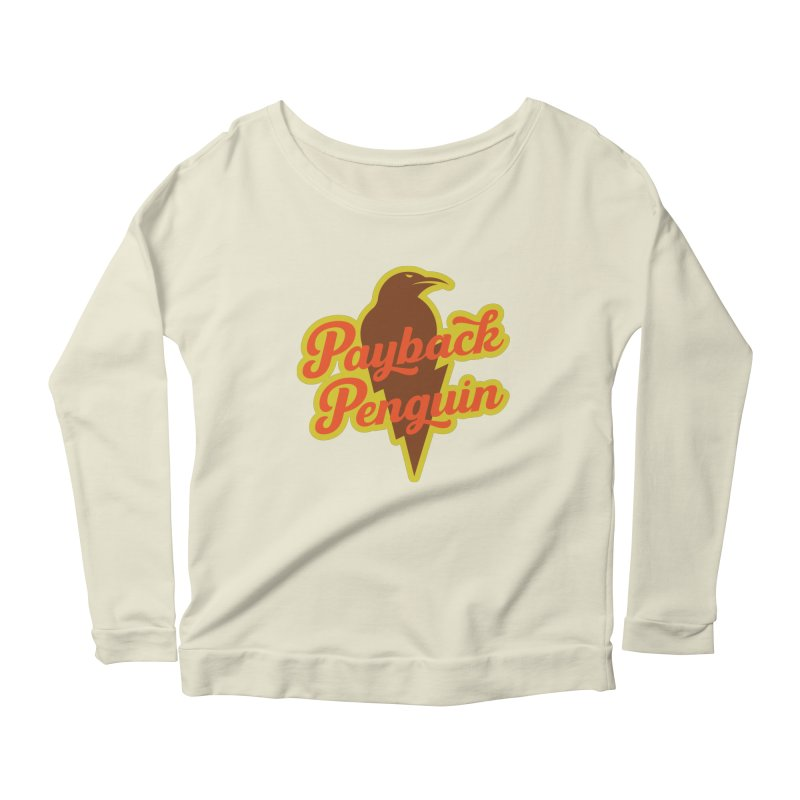 Bolt Penguin - Cream Women's Scoop Neck Longsleeve T-Shirt by Payback Penguin