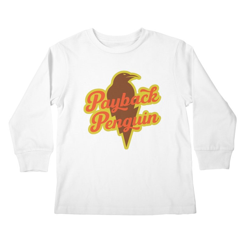 Bolt Penguin - Cream Kids Longsleeve T-Shirt by Payback Penguin