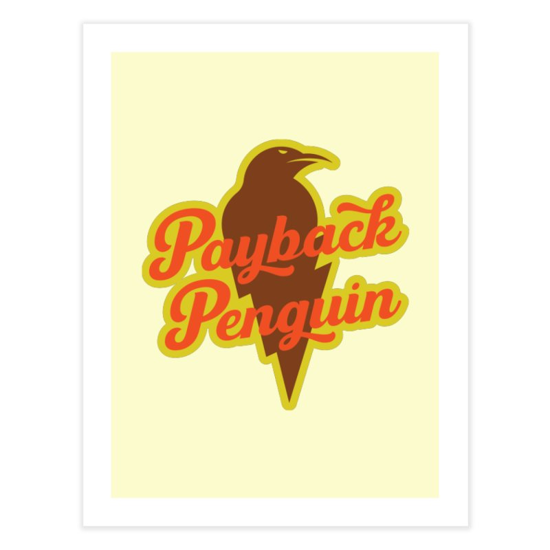 Bolt Penguin - Cream Home Fine Art Print by Payback Penguin