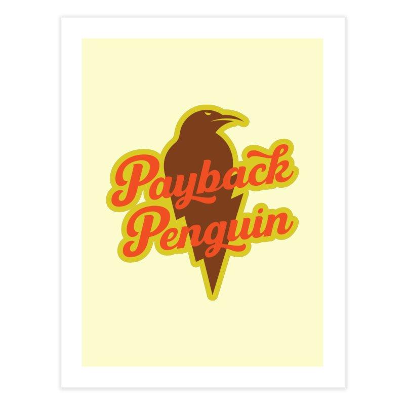 Bolt Penguin - Cream Home Fine Art Print by Payback Penguin