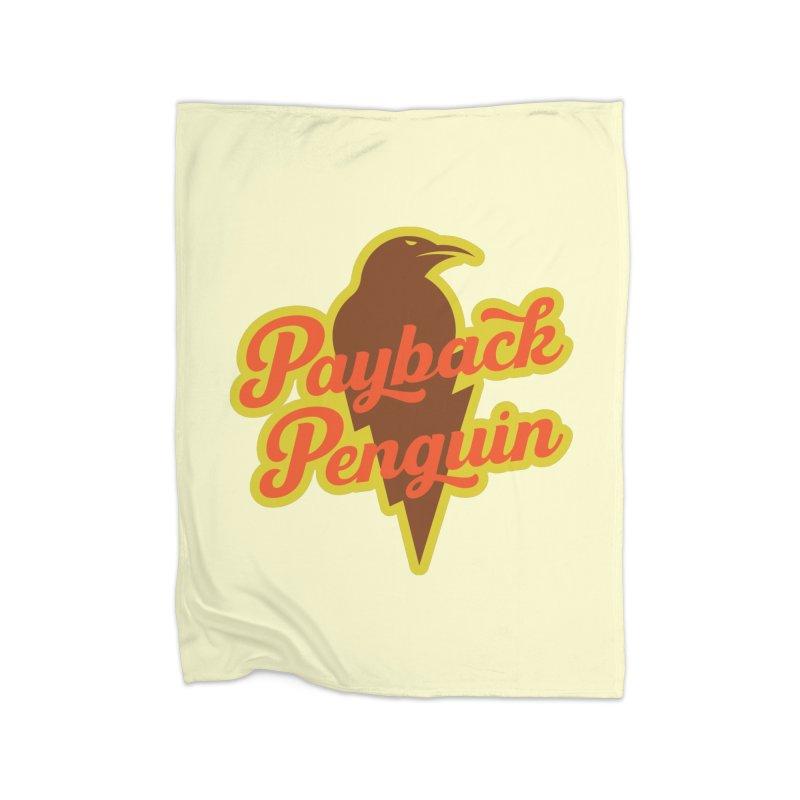 Bolt Penguin - Cream Home Blanket by Payback Penguin