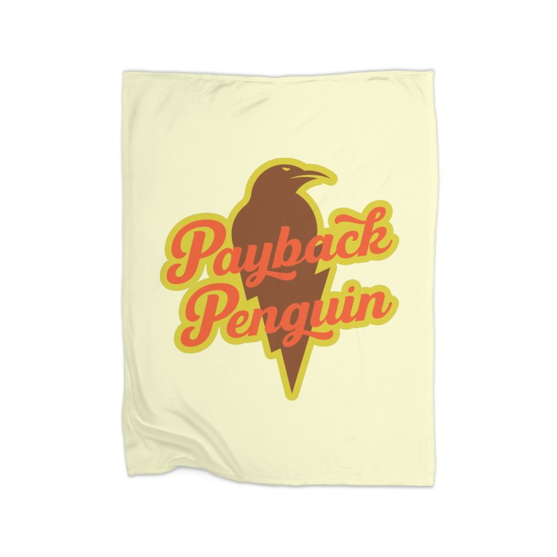 Bolt Penguin - Cream Home Fleece Blanket Blanket by Payback Penguin