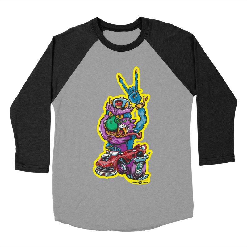 Rocking Monster Men's Baseball Triblend Longsleeve T-Shirt by Payback Penguin