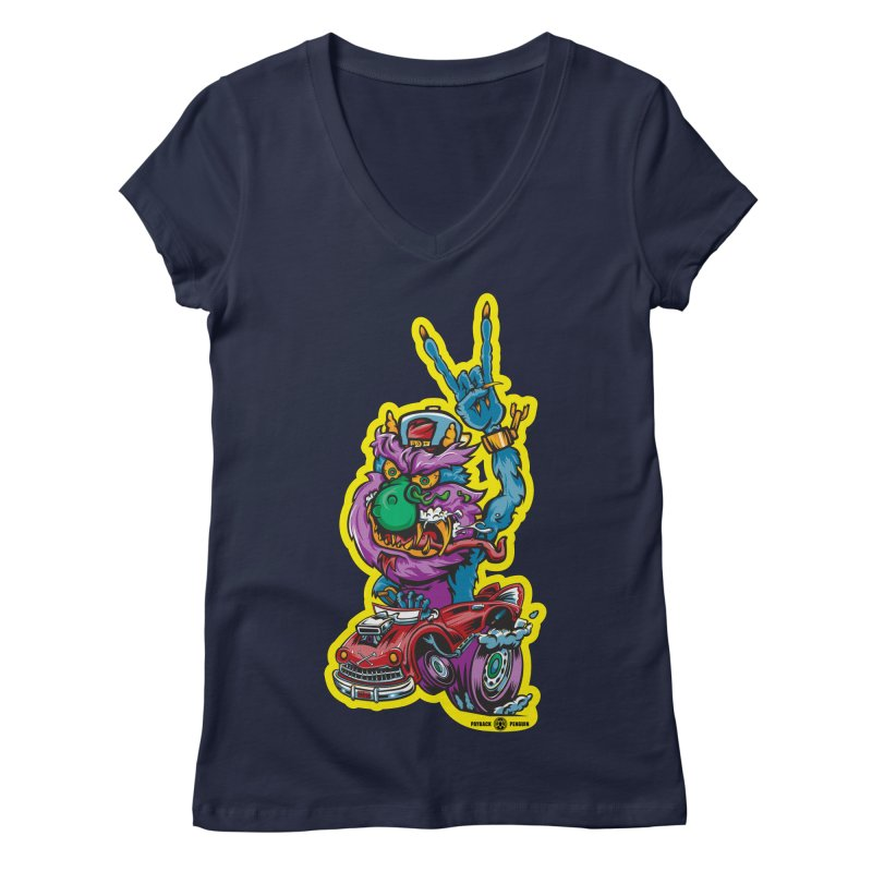 Rocking Monster Women's Regular V-Neck by Payback Penguin