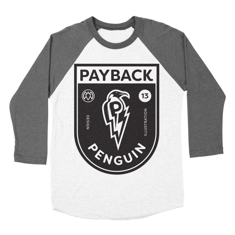 Payback Penguin Shocker Shield Men's Baseball Triblend T-Shirt by Payback Penguin