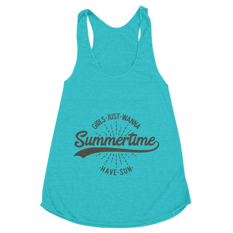Summertime - Girls Just Wanna Have Sun Women's Racerback Triblend Tank by Pbatu's Artist Shop