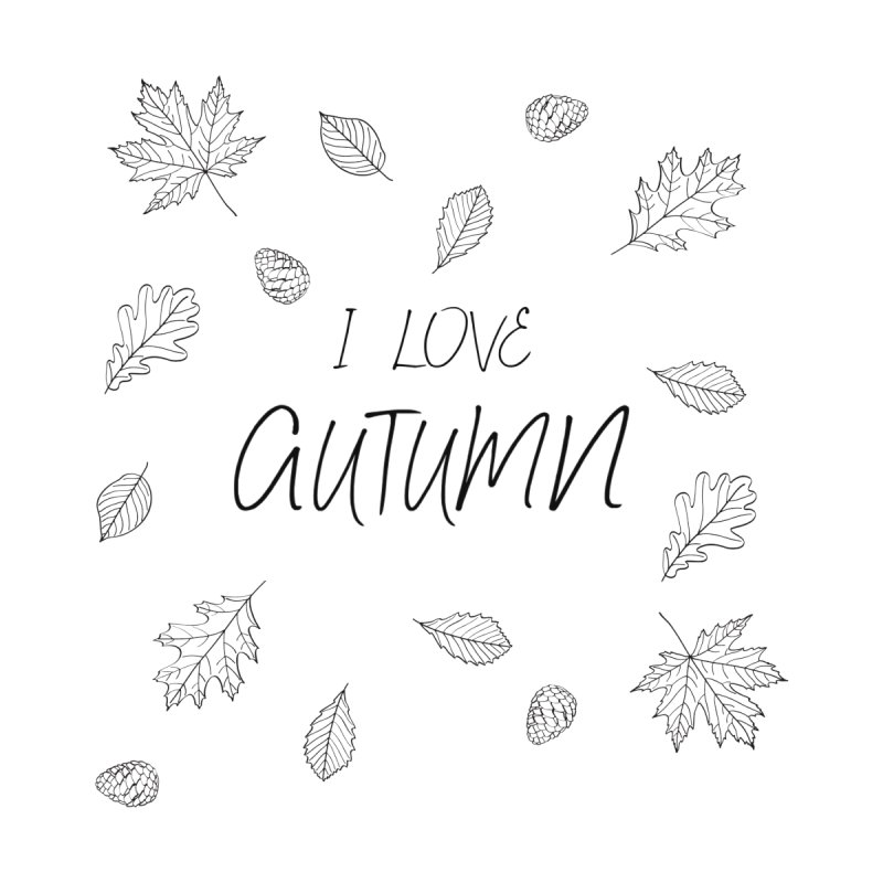I love autumn (black) Women's V-Neck by Pbatu's Artist Shop