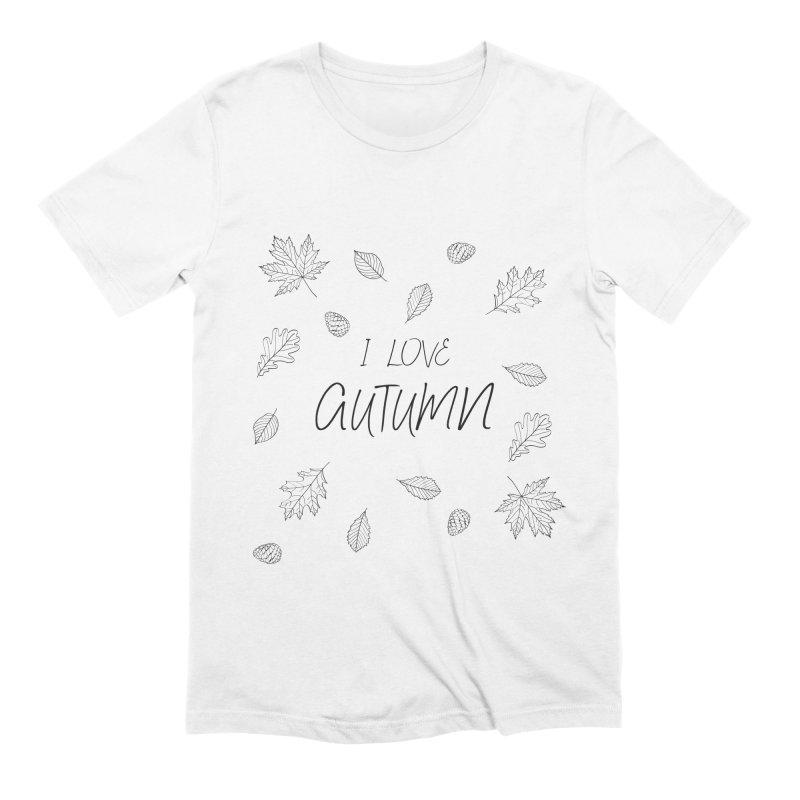 I love autumn (black) Men's Extra Soft T-Shirt by Pbatu's Artist Shop