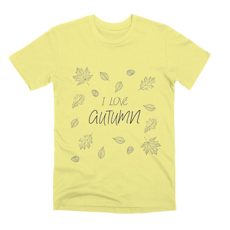 I love autumn (black) Men's Premium T-Shirt by Pbatu's Artist Shop