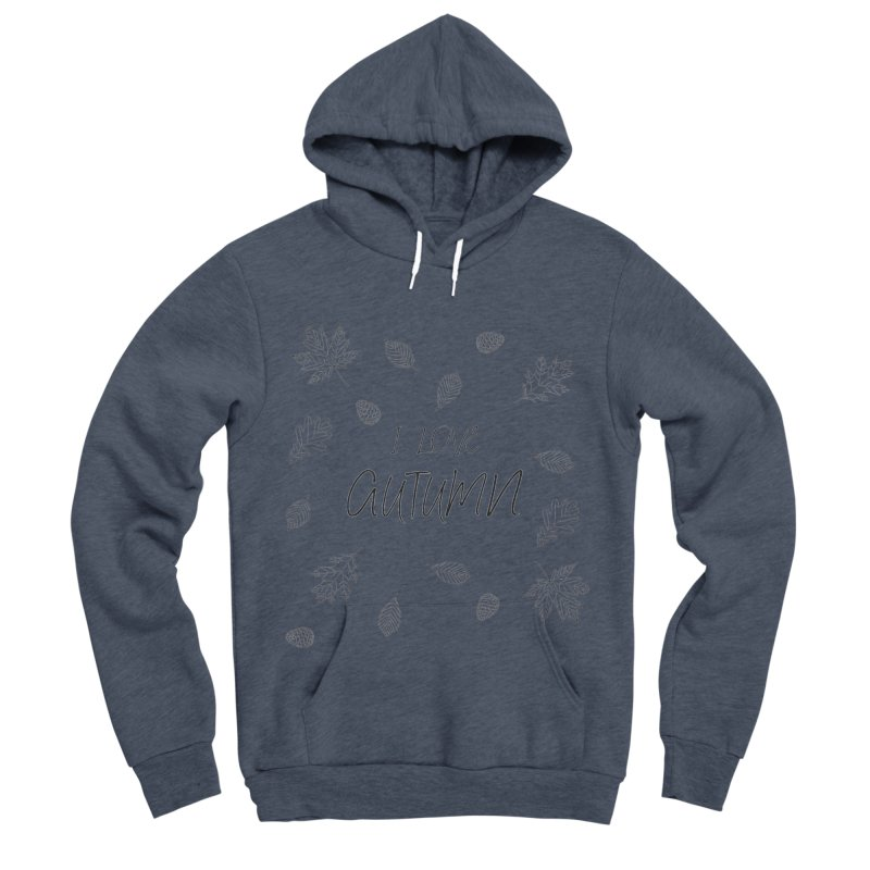 I love autumn (black) Men's Sponge Fleece Pullover Hoody by Pbatu's Artist Shop