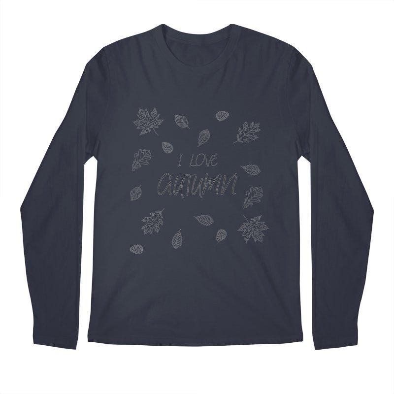I love autumn (black) Men's Longsleeve T-Shirt by Pbatu's Artist Shop