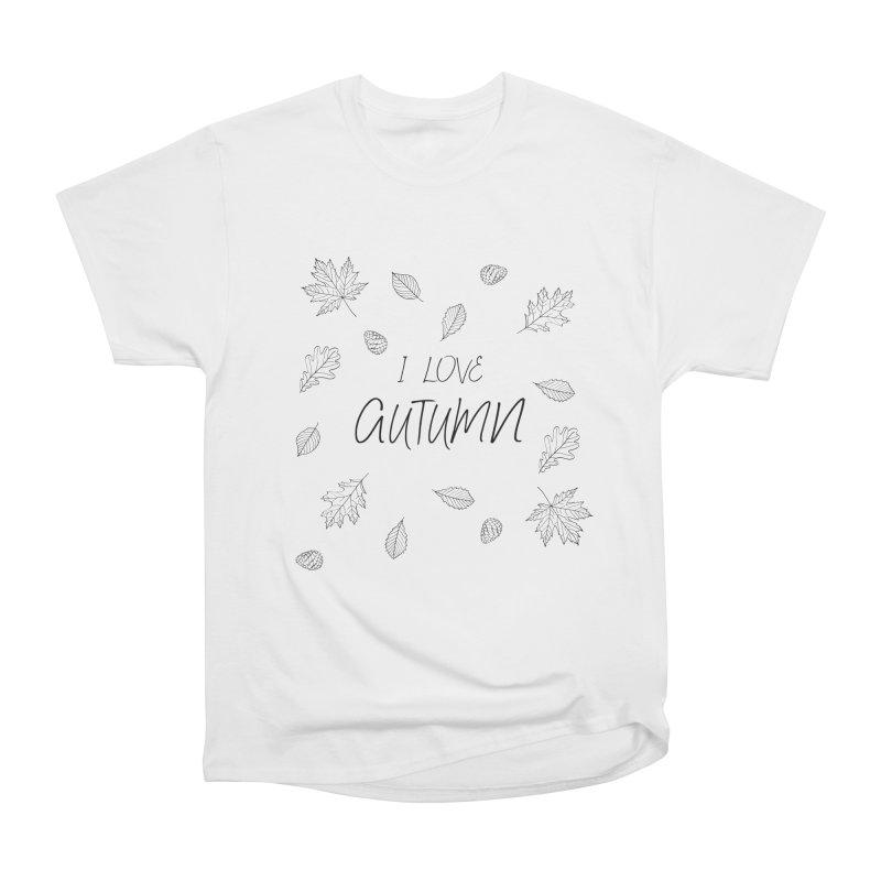 I love autumn (black) Men's Heavyweight T-Shirt by Pbatu's Artist Shop
