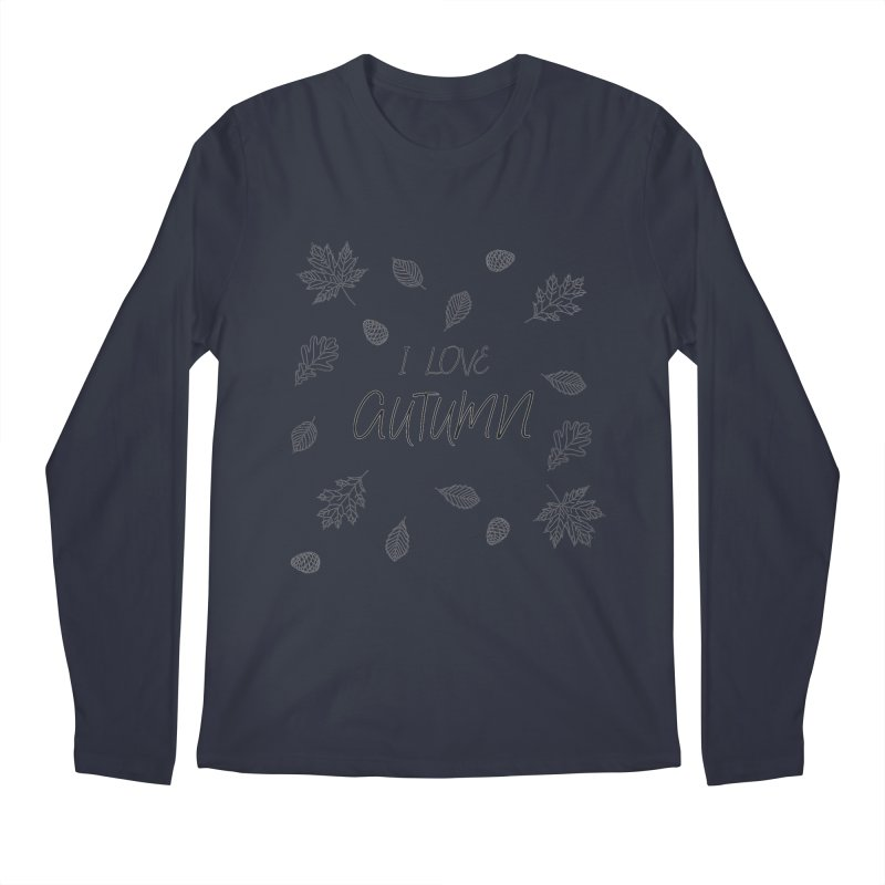 I love autumn (black) Men's Regular Longsleeve T-Shirt by Pbatu's Artist Shop