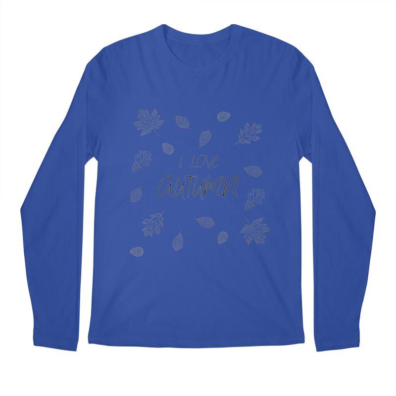 I love autumn (black) Men's Regular Longsleeve T-Shirt by Pbatu's Artist Shop