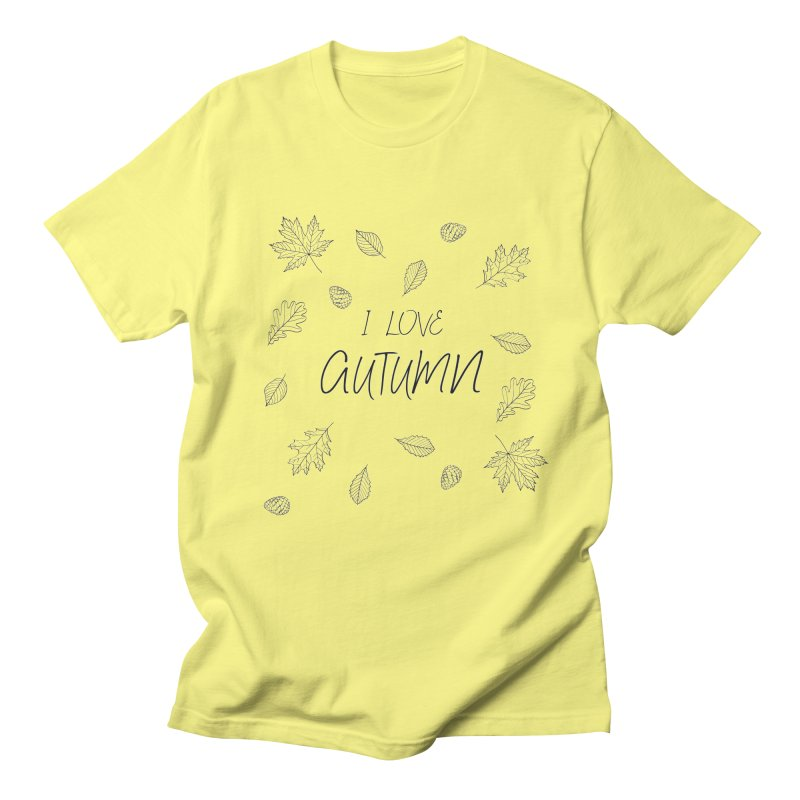 I love autumn (black) Men's T-Shirt by Pbatu's Artist Shop