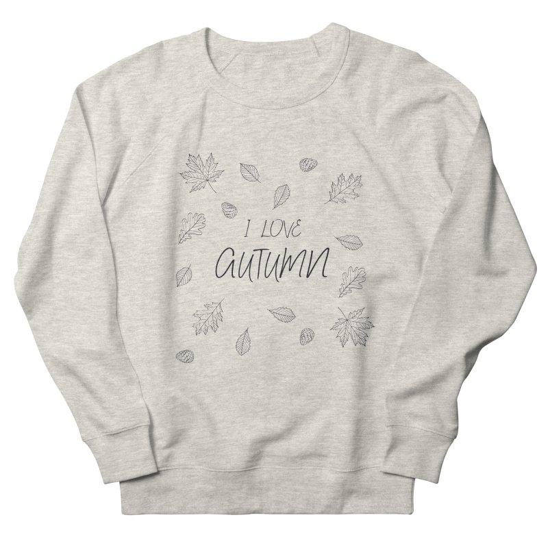 I love autumn (black) Men's French Terry Sweatshirt by Pbatu's Artist Shop
