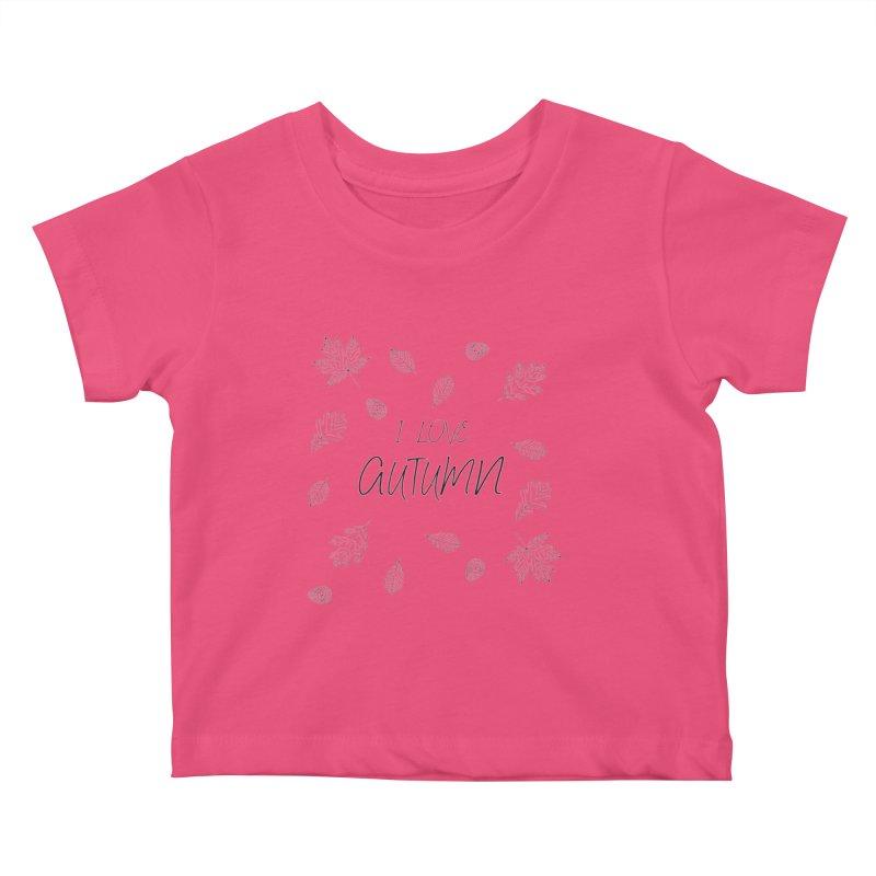 I love autumn (black) Kids Baby T-Shirt by Pbatu's Artist Shop