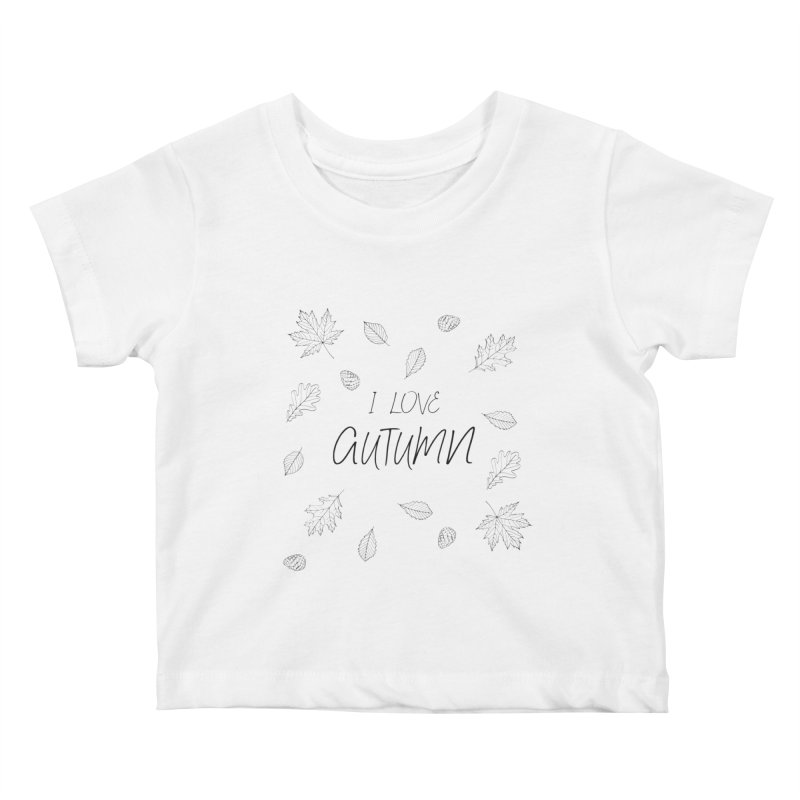 I love autumn (black) Kids Baby T-Shirt by Pbatu's Artist Shop