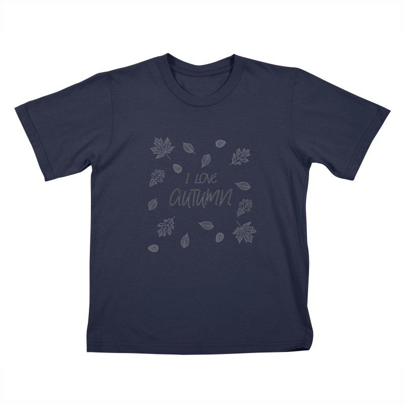 I love autumn (black) Kids T-Shirt by Pbatu's Artist Shop