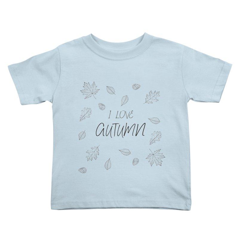 I love autumn (black) Kids Toddler T-Shirt by Pbatu's Artist Shop