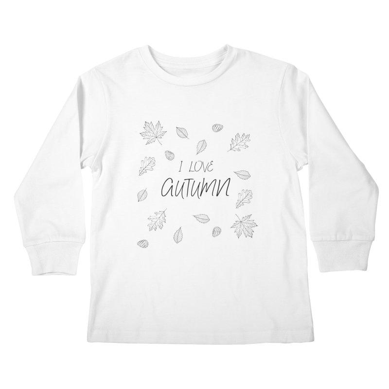I love autumn (black) Kids Longsleeve T-Shirt by Pbatu's Artist Shop