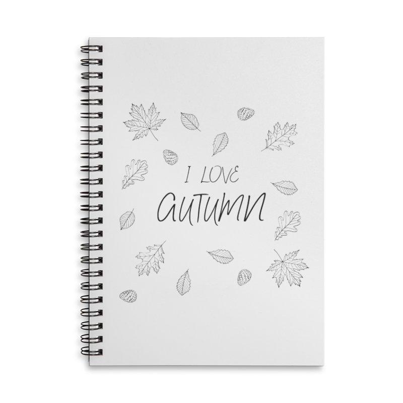 I love autumn (black) Accessories Lined Spiral Notebook by Pbatu's Artist Shop