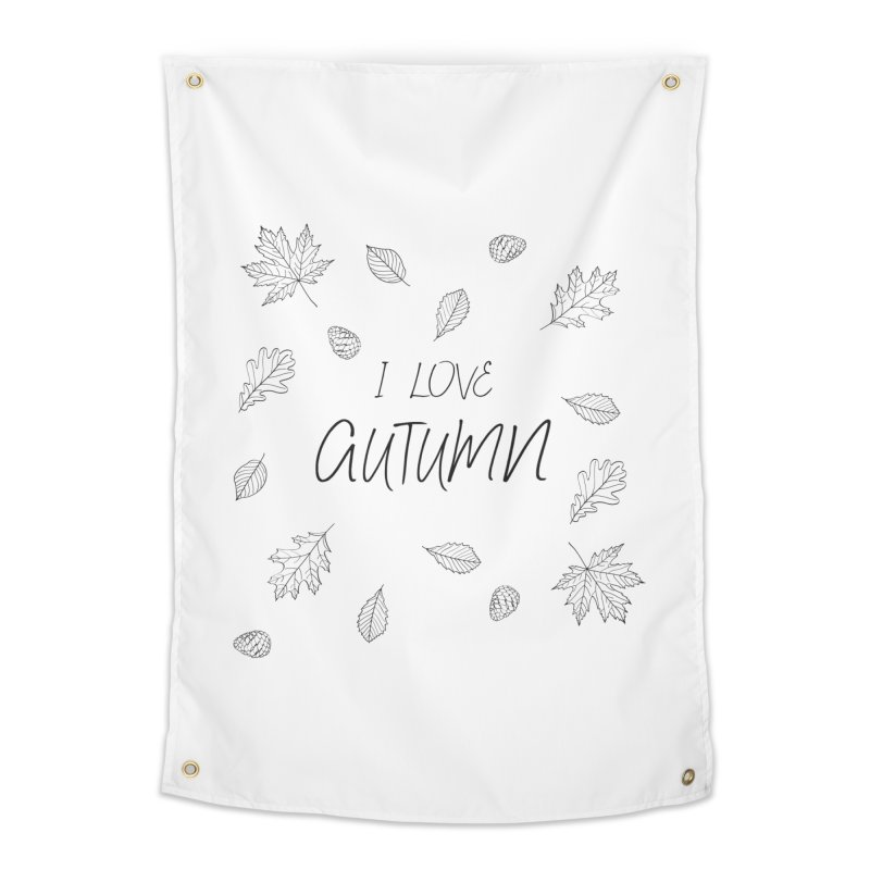 I love autumn (black) Home Tapestry by Pbatu's Artist Shop
