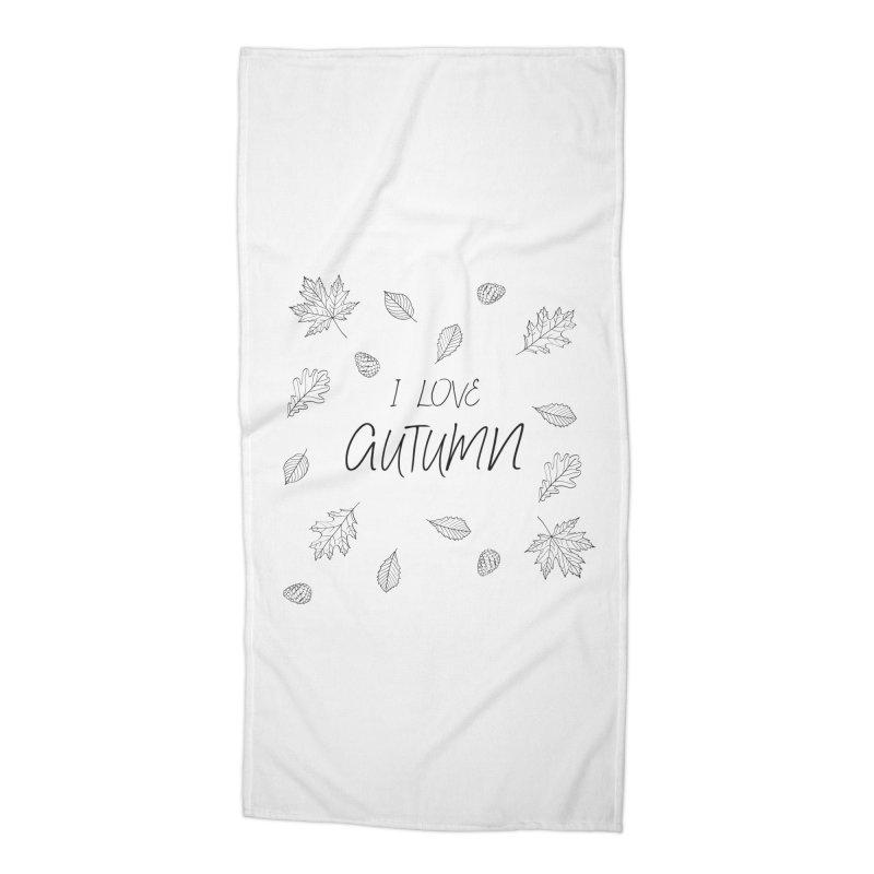 I love autumn (black) Accessories Beach Towel by Pbatu's Artist Shop
