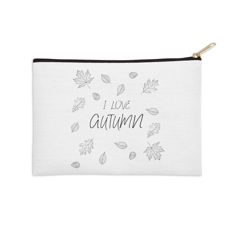 I love autumn (black) Accessories Zip Pouch by Pbatu's Artist Shop