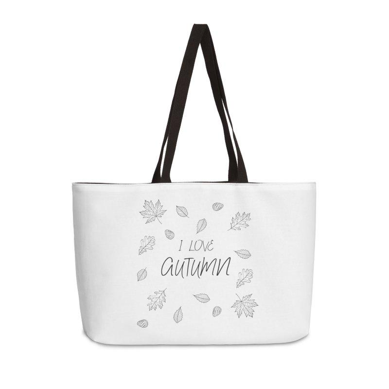 I love autumn (black) Accessories Weekender Bag Bag by Pbatu's Artist Shop