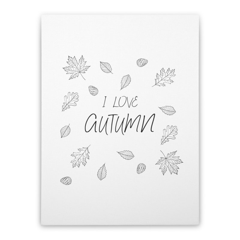 I love autumn (black) Home Stretched Canvas by Pbatu's Artist Shop