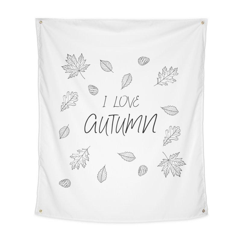 I love autumn (black) Home Tapestry by Pbatu's Artist Shop