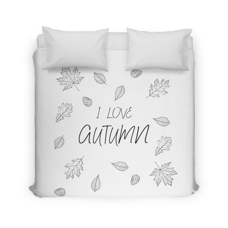 I love autumn (black) Home Duvet by Pbatu's Artist Shop