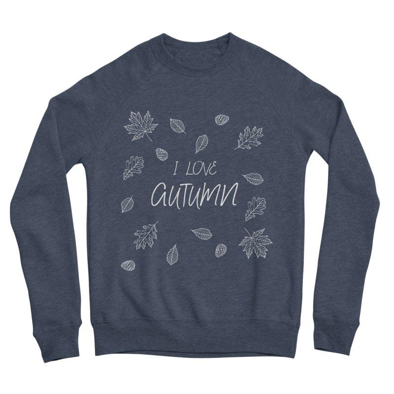I love autumn (white) Men's Sponge Fleece Sweatshirt by Pbatu's Artist Shop
