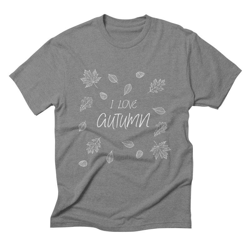 I love autumn (white) Men's Triblend T-Shirt by Pbatu's Artist Shop
