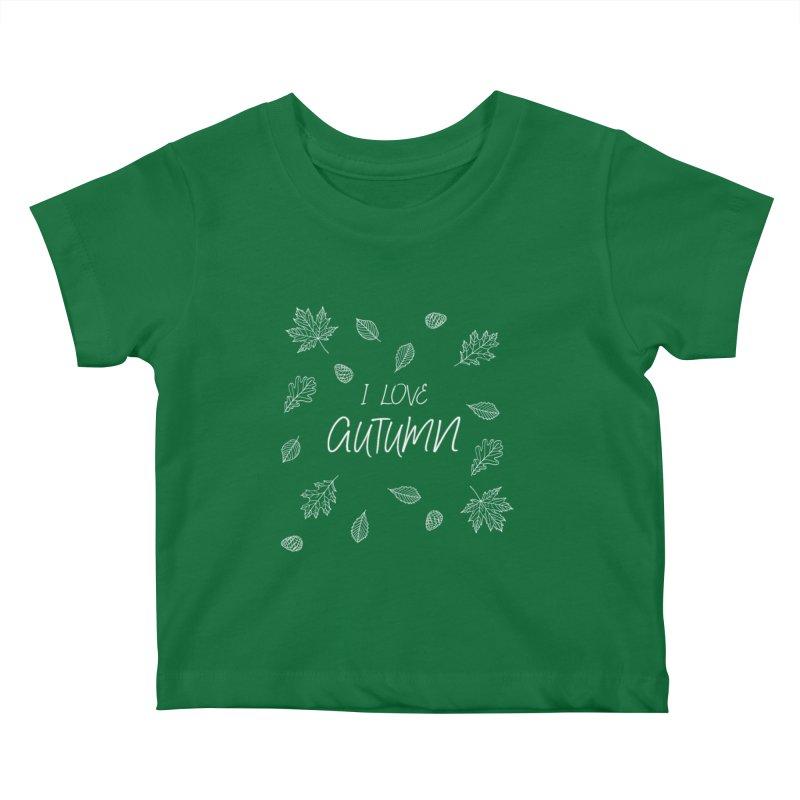 I love autumn (white) Kids Baby T-Shirt by Pbatu's Artist Shop