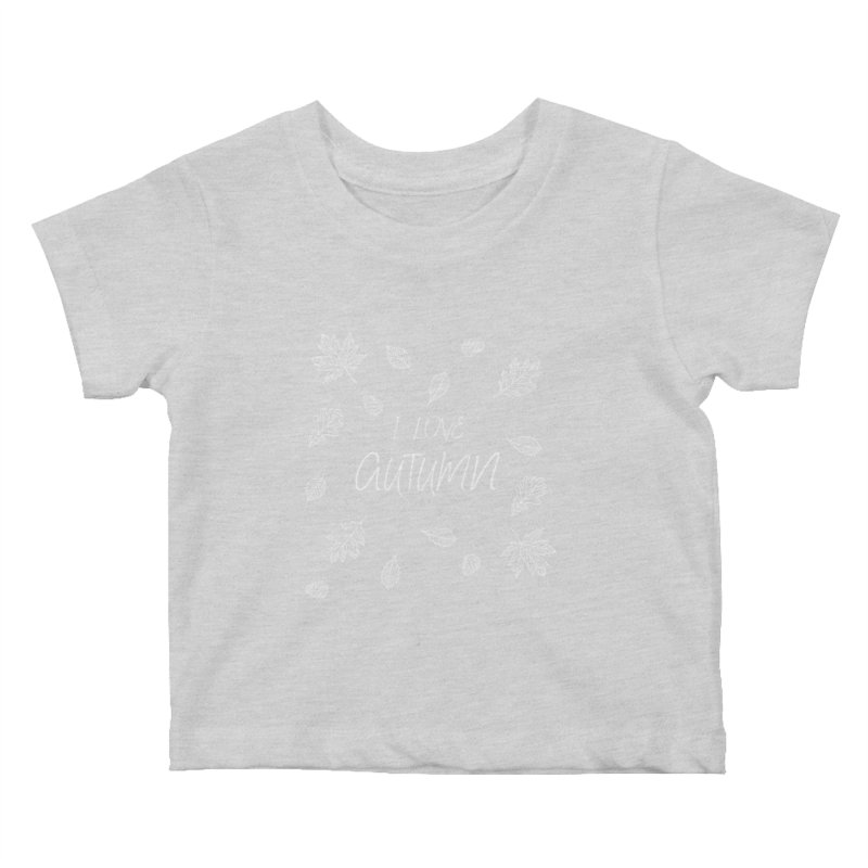 I love autumn (white) Kids Baby T-Shirt by Pbatu's Artist Shop