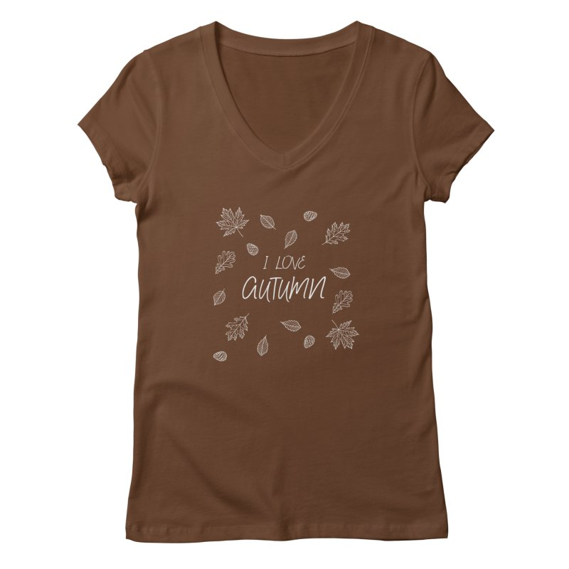 I love autumn (white) Women's V-Neck by Pbatu's Artist Shop