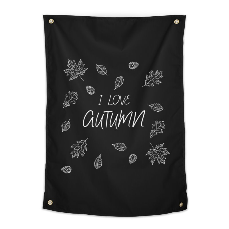 I love autumn (white) Home Tapestry by Pbatu's Artist Shop