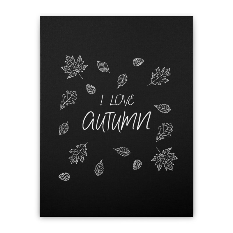 I love autumn (white) Home Stretched Canvas by Pbatu's Artist Shop
