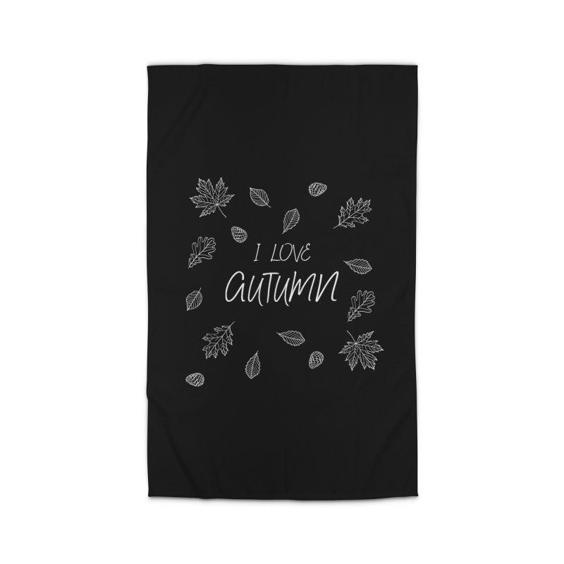 I love autumn (white) Home Rug by Pbatu's Artist Shop