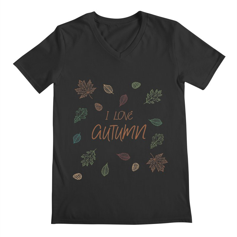 I love autumn Men's Regular V-Neck by Pbatu's Artist Shop