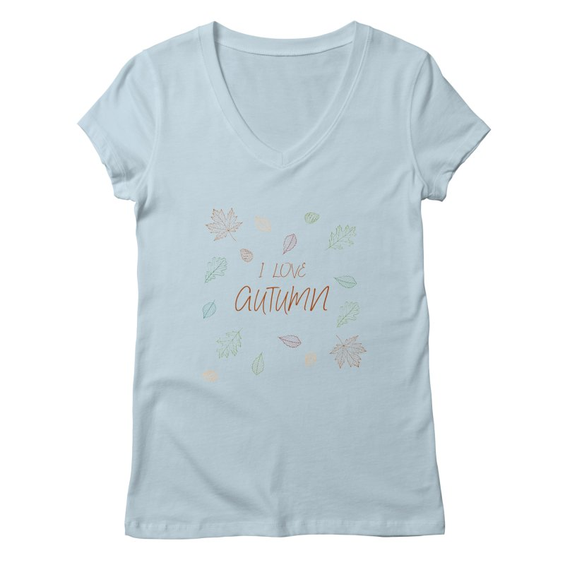 I love autumn Women's Regular V-Neck by Pbatu's Artist Shop