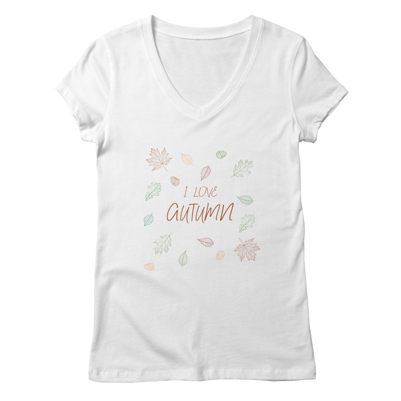 I love autumn Women's V-Neck by Pbatu's Artist Shop