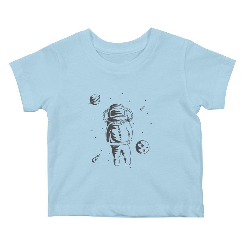 Cosmonaut in Space Kids Baby T-Shirt by Pbatu's Artist Shop